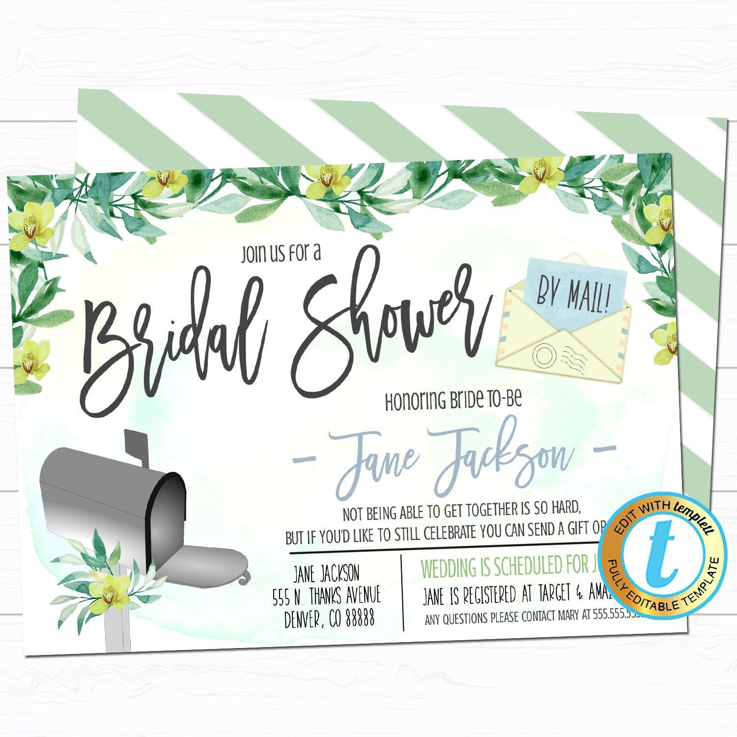 Shower By Mail Invitation Bridal Shower Baby Shower Wedding Etsy In 2020 Bridal Shower Invitations Bridal Shower Invitation Template