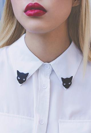 Black Cat Collar Pins