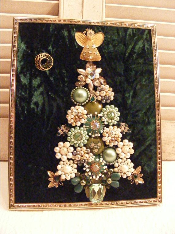 Vintage Jewelry Framed Mint Green And Gold Christmas Tree With A