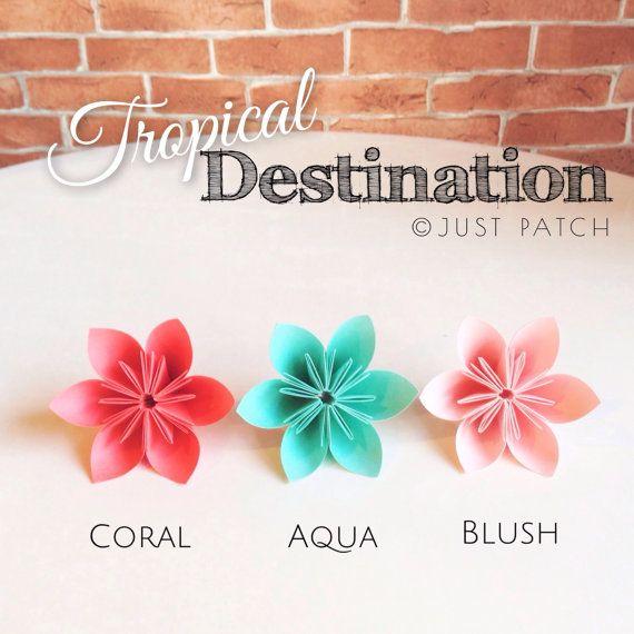 Tropical Destination Theme  Origami Flowers 20pcs by JUSTPATCHshop
