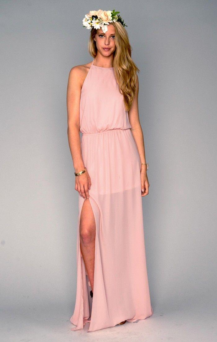 2d1bff4d8dd Heather Halter Dress - Frosty Pink Crisp