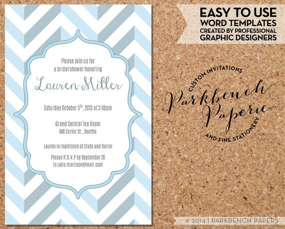Bridal Shower Invitation - Blue Chevron- DIY Editable Word Template, Instant Download, Printable $9.00 at www.parkbenchpaperie.etsy.com