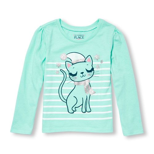 99f7a21a2c44 s Toddler Long Sleeve Glitter Winter Cat Graphic Tee - Green T-Shirt - The  Children's Place