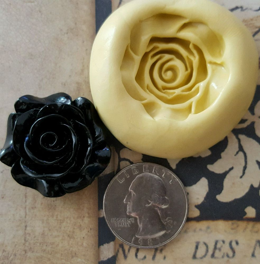 Rose silicone mold for polymer clay resin wax fondant candy
