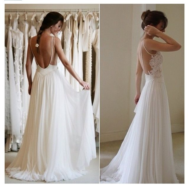 Backless flowing wedding gown | Wedding Ideas | Pinterest | Gowns ...