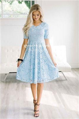 26983f3dcbd3 Sky Blue Lace Modest Dress by Mikarose, Vintage Dress, Church Dresses,  dresses for church, modest bridesmaids dresses, trendy modest, modest  skirt, ...