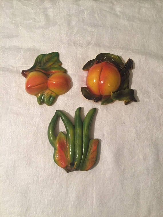 Vintage 1950's Chalkware Fruits and Vegetables Chalkware