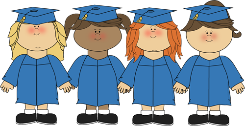 Graduation kindergarten. Cute girl clip art