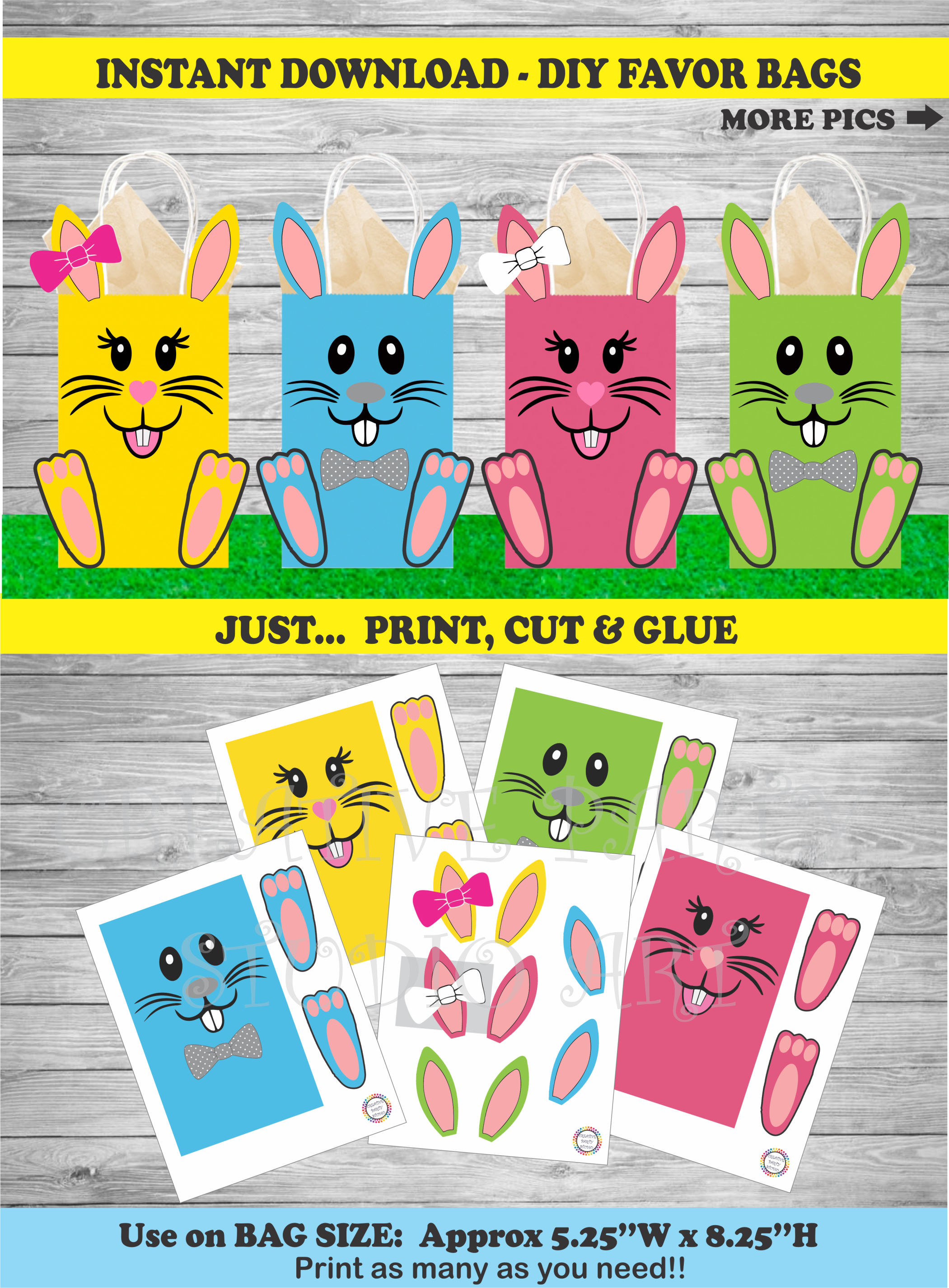 Easter bunny party favor bags easter egg hunt party favors goody easter egg hunt party favor bags kids easter party favors easter birthday party ideas negle Gallery