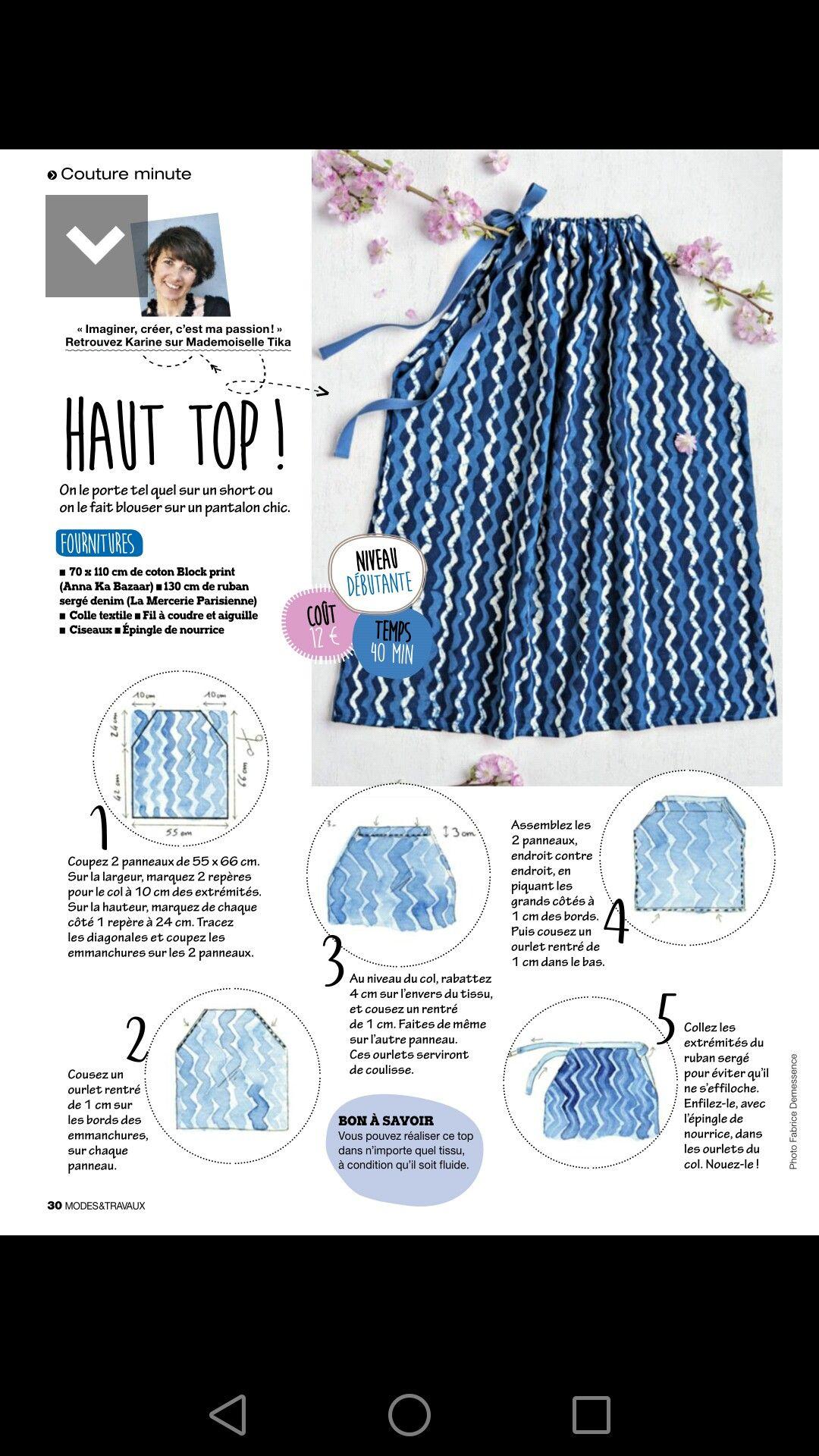 Top bleu couture Patrons faciles, Tuto couture facile