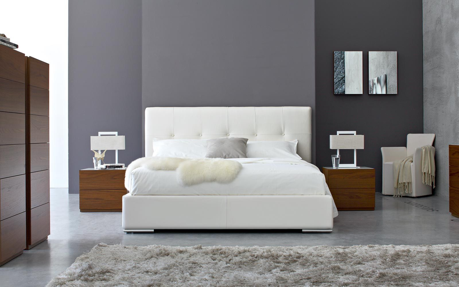 swami upholstered bed calligaris concepto modern living showroom