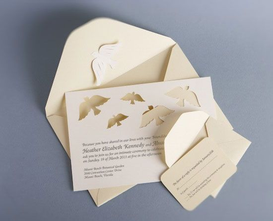 Papercut Dove Wedding Invitations By Mama Tita Lovely Ivory And Delicate Details