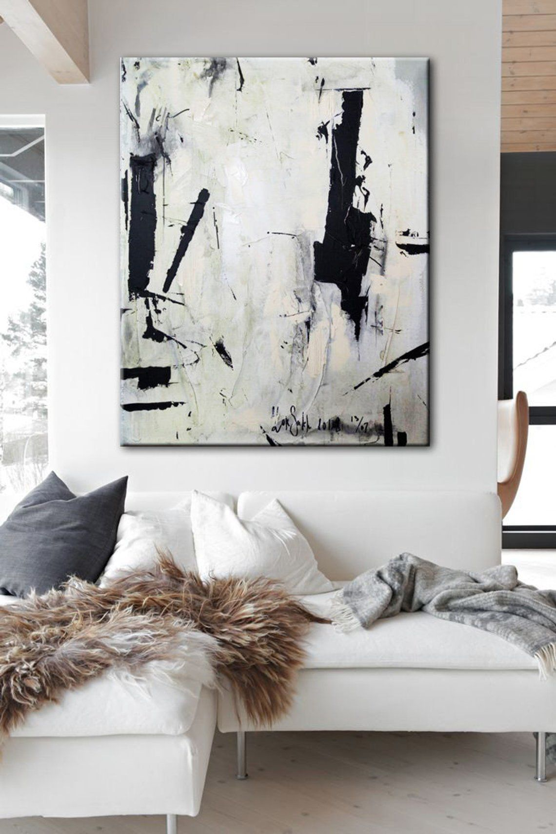 Large Abstract Painting On Canvas Black White Wall Art Etsy Large Abstract Painting Etsy Wall Art Black And White Wall Art
