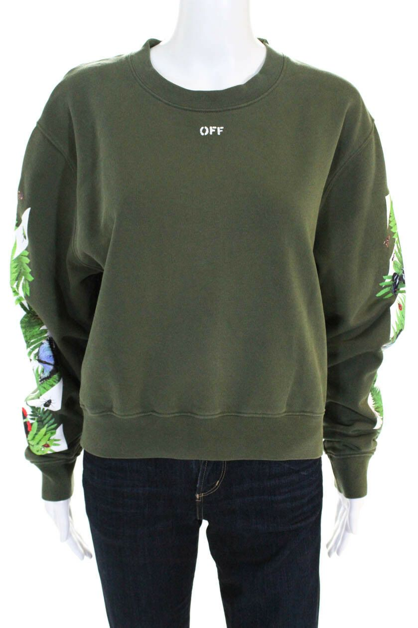9121fa65f4 Off White Womens Virgil Abloh Logo Foliage Print Cropped Sweater Green Small.