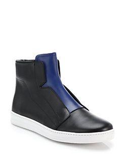 Prada - Two-Tone Leather Slip-On High-Top Sneakers