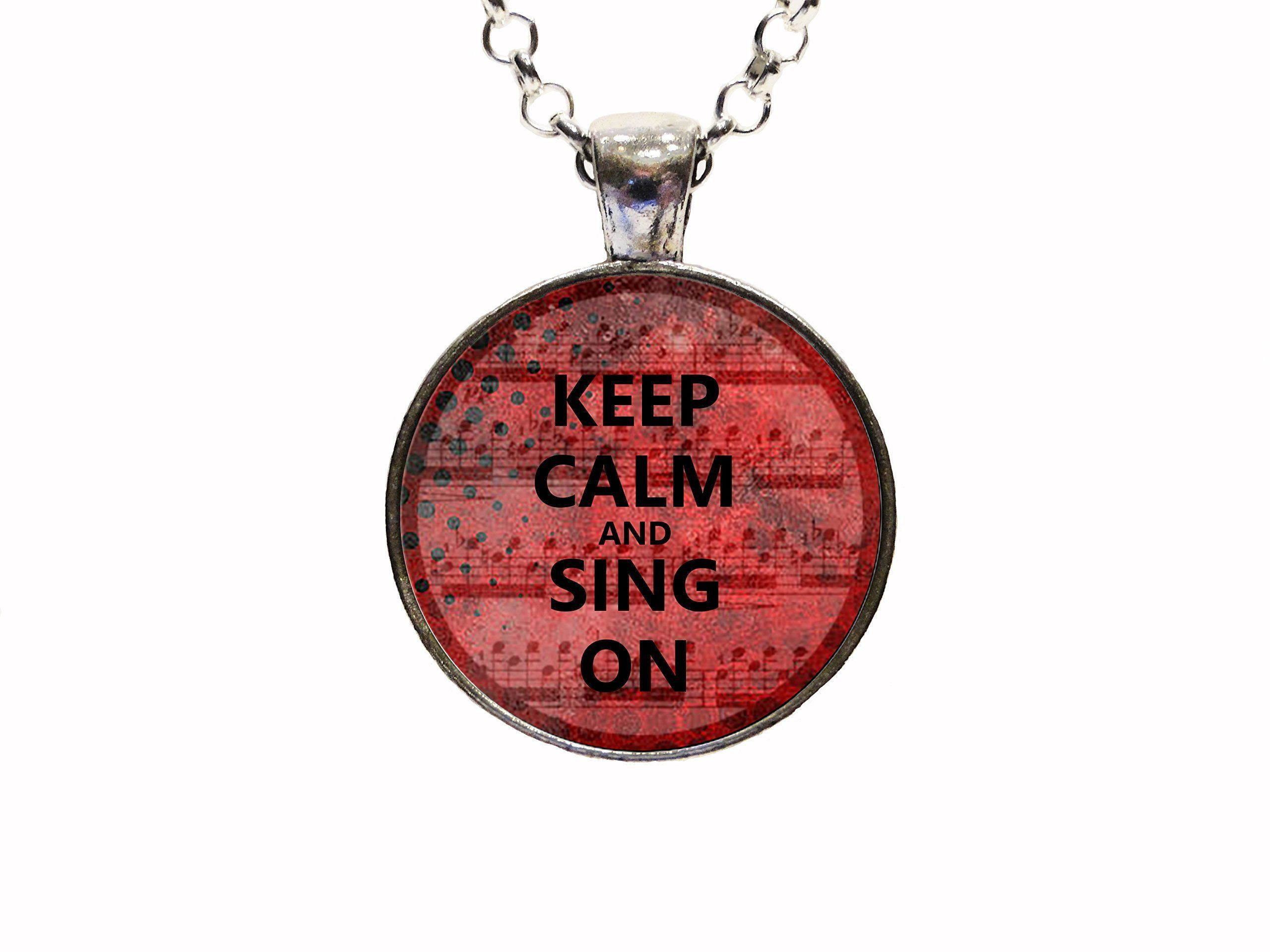 Digital Art Quotes Keep Calm and Sing On Pendant Necklace Or Keychain Urban Teen Music Student Teacher Gift Christmas. With this listing you will receive a glass dome pendant and necklace with lobster clasp in organza bag shipped via U.S. mail with tracking number. Package is ready for gift giving. Matching key chains are also available with this design. For key chain choice select your pendant choice and then under necklace options you will select key chain. Four Pendant Choices…