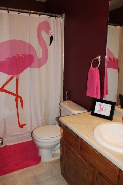 Flamingo Themed Kids Bathroom, Girls Bathroom, Flamingo