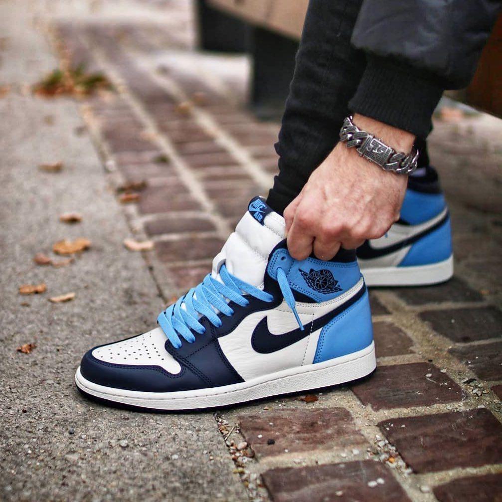Nike Air Jordan 1 Retro High Og Gs Unc Obsidian Swag Shoes