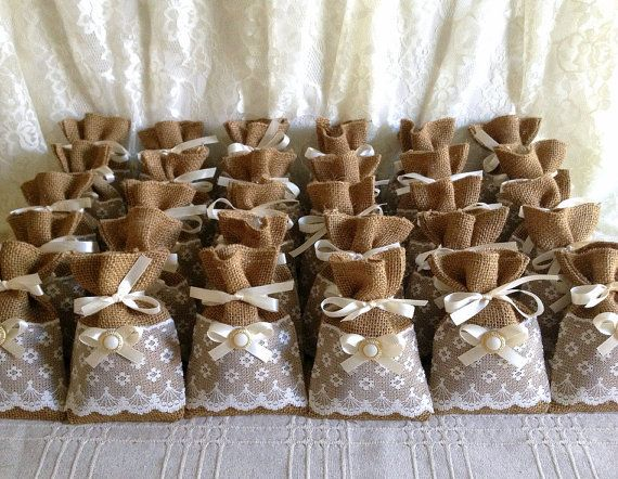 50 filled potpourri lace covered burlap favor bags wedding bridal shower tea party gift bag