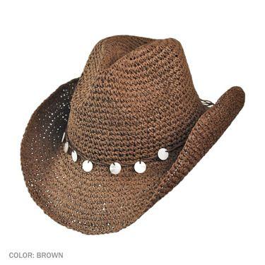 Tropical Trends Pearl Charm Western Hat (Brown)