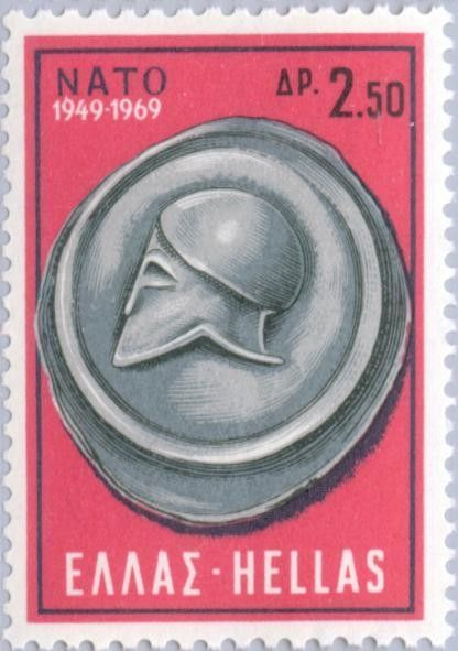 Sello 20 Years N A T O Shield And Helmet Grecia North Atlantic Treaty Organization N A T O Mi Gr 1002 Yt Gr 980 Old Stamps Postcard Stamps Stamp
