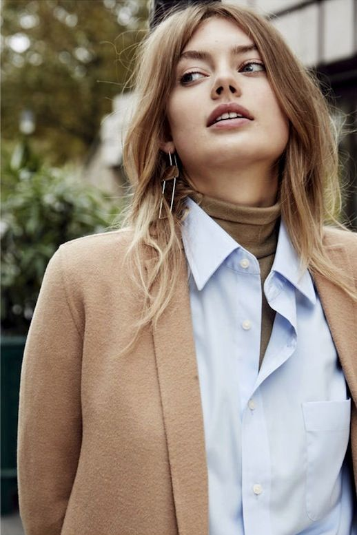 Le Fashion Blog Fall Style Layered Office Look Geometric Drop Earrings Camel Coat Light Blue On
