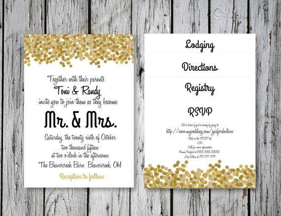 Bubbly Wedding Invitation Inserts