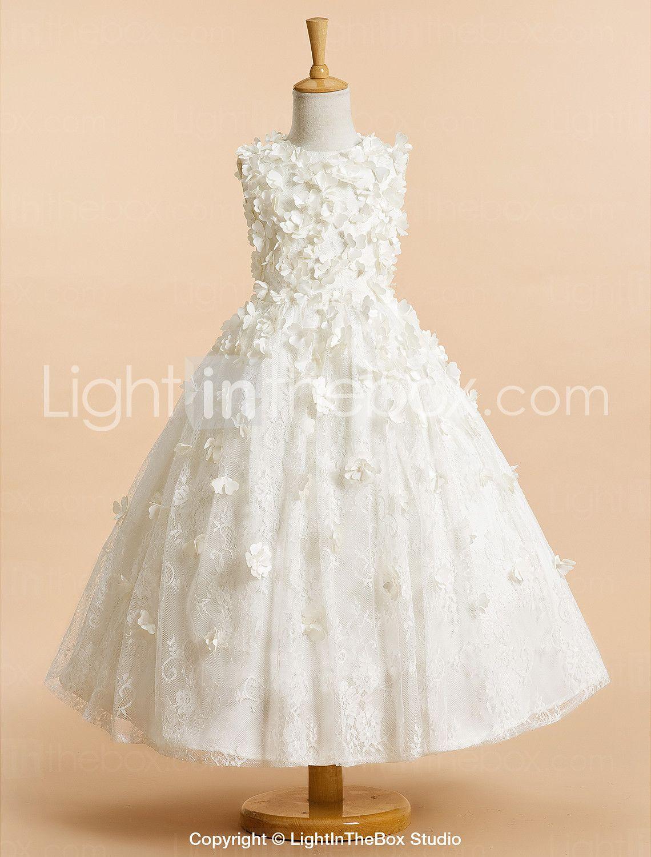 Lanting Bride A-lijn Over de knie Bloemenmeisjesjurk - Tule Mouwloos Met sieraad…