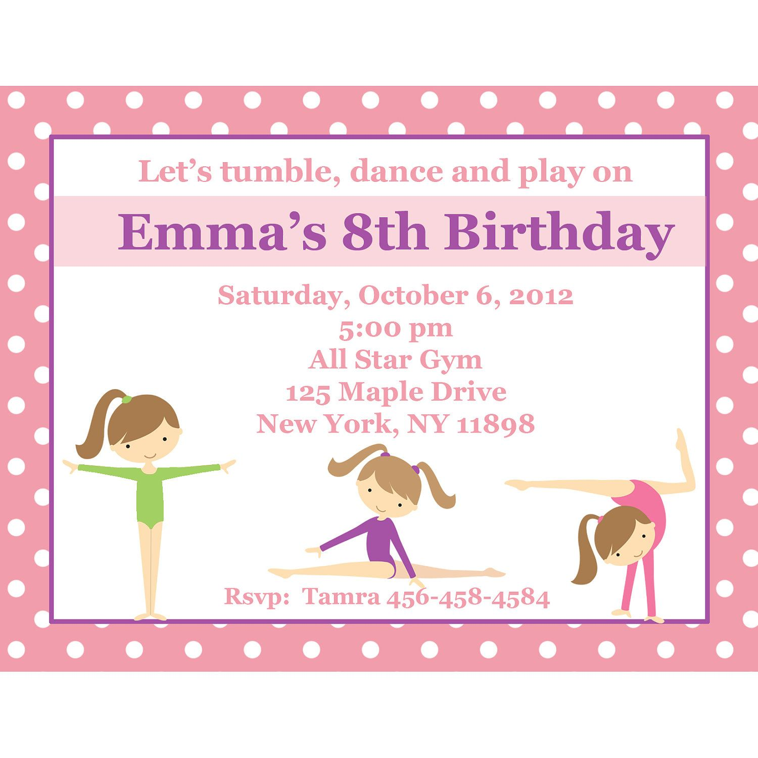 20 Personalized Birthday Invitations Pink Gymnastics – Gymnastic Birthday Invitations