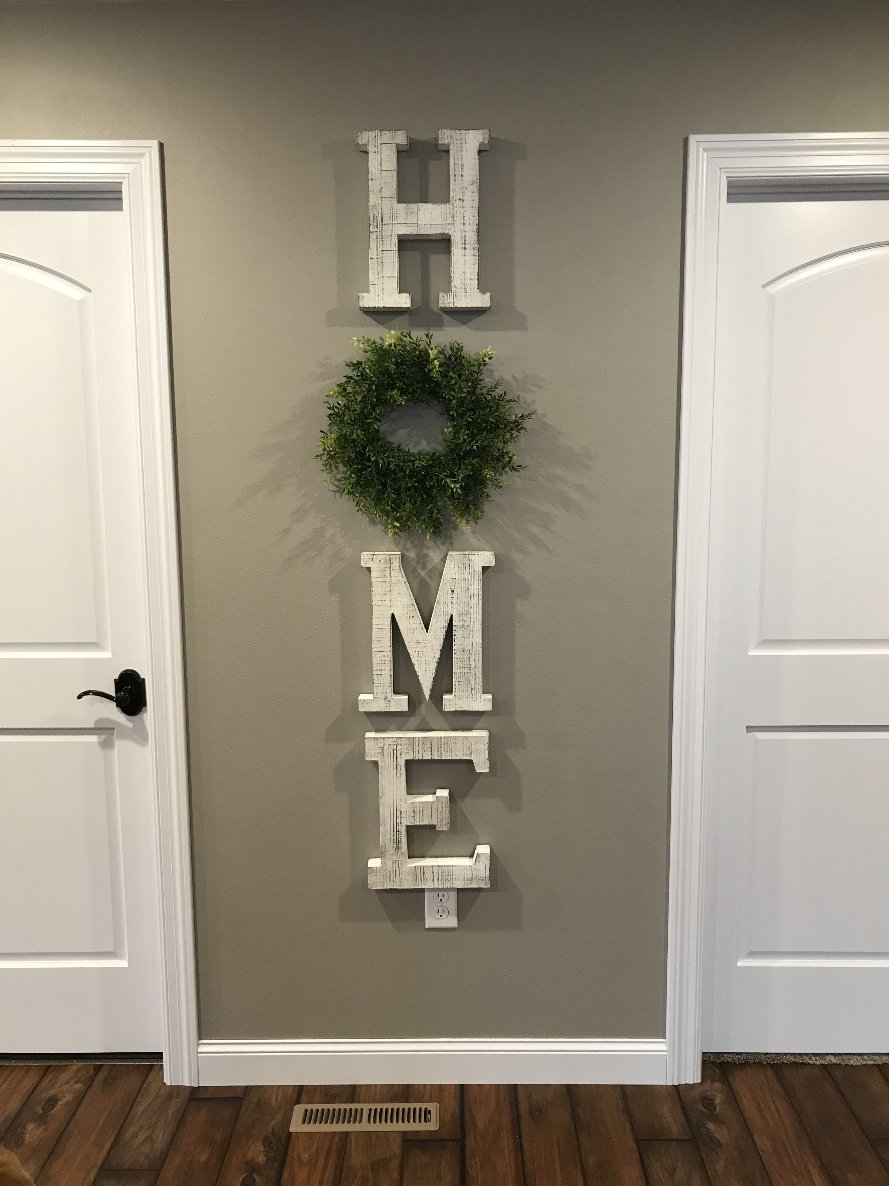 Home Letters And Wreath From Hobby Lobby Farmhouse Decor Living Room Farm House Living Room Trendy Living Rooms