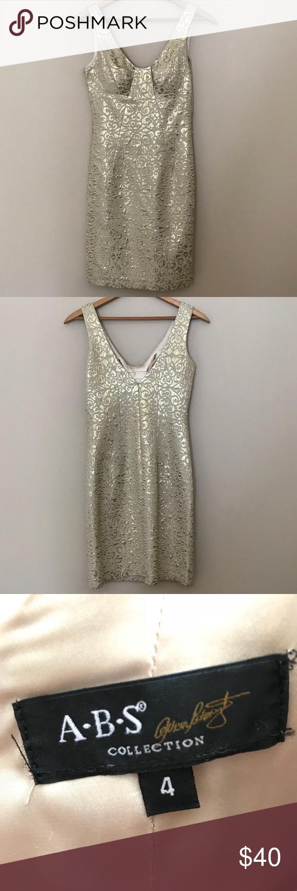ABS by Allen Schwartz Gold Metallic Cocktail Dress Size 4, ABS by ...