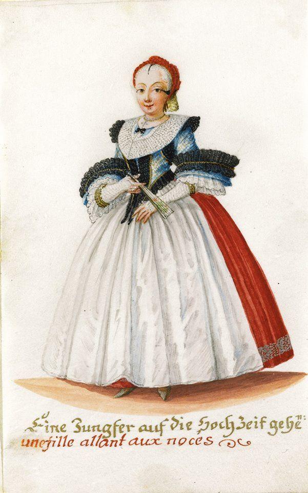 Helena Regina Rohbausch (née Motz) (German artist and engraver) 1735 - 1769 - Eine Jungfer auf die Hochzeit Gehend (Une Fille Allant aux Noces), ca. 1750
