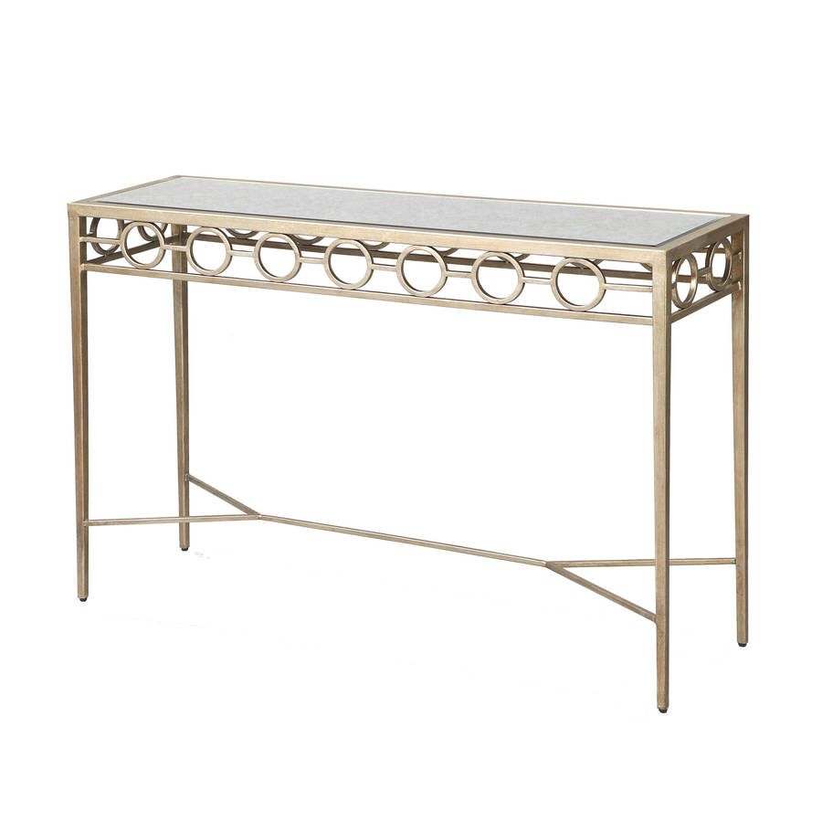 circles console table in gold or silver