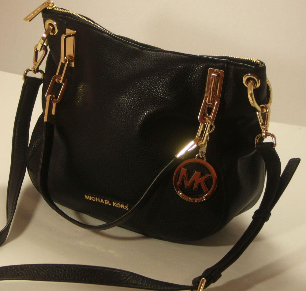 1087c6a5013f NEW Michael Kors Brooke Medium Black Leather Tote Shoulder Handbag   MichaelKors  TotesShoppers