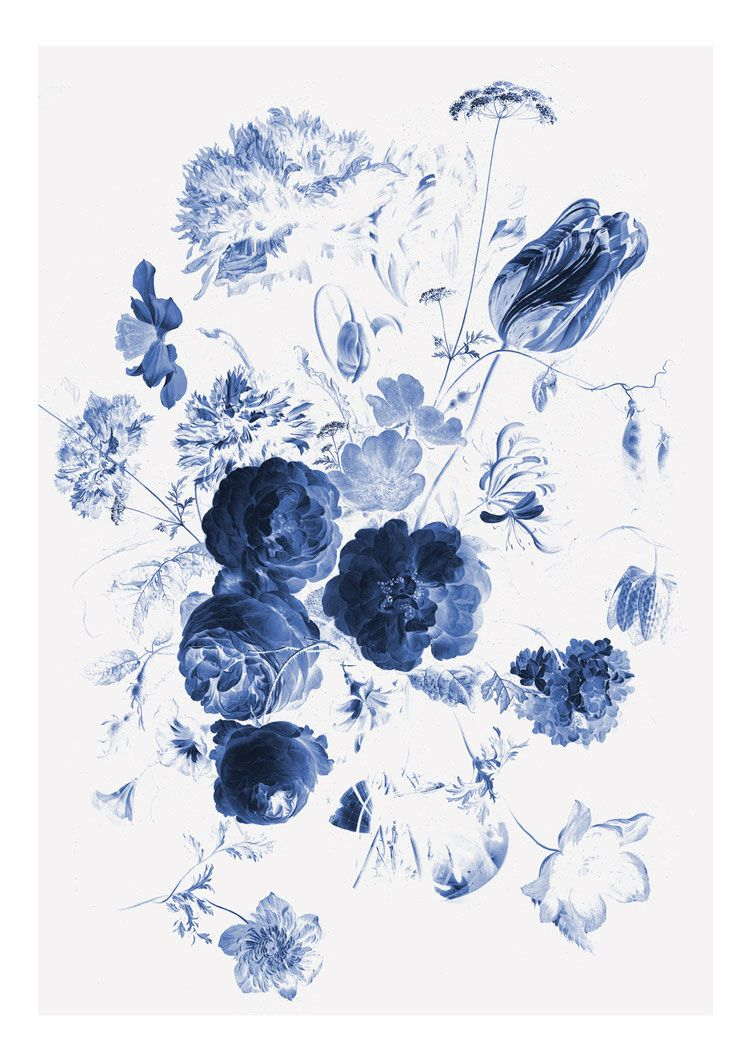 Royal Blue Flowers I Blue flower painting, Blue flower