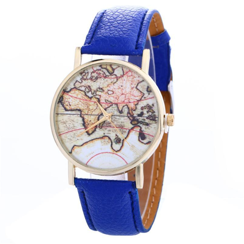 Fashion# Global Travel By Plane Map Denim Fabric Band Watch Women Relogio Feminino 7 Colors Dress Watches Drop Shipping Lover's Watches