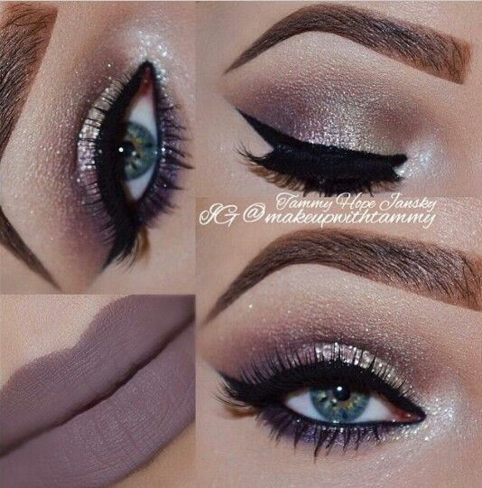 Glitter eyes and matte gray/brown lipstick