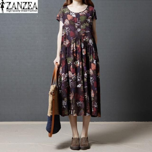 665515ab43 2017 ZANZEA Womens Vintage Floral Print Short Sleeve Summer Casual Party Loose  Kaftan Dress Beach Long Vestido Plus Size
