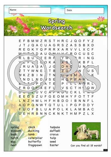 Spring wordsearch to support key vocabulary associated with the season spring. Spring teaching resource for KS1.