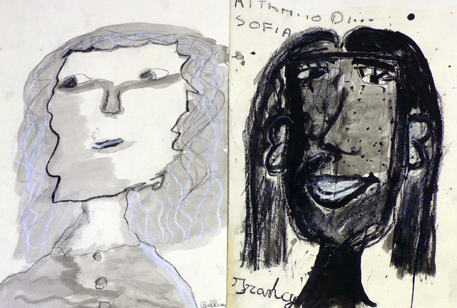 Autoritratti fatti guardandosi attraverso uno specchio messo nell'acqua o a lume di candela (carboncino, china, grafite, pastelli a olio e cera)