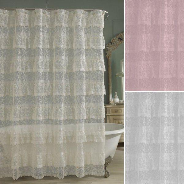 Priscilla Layered Ruffled Lace Shower Curtain Ruffle Shower