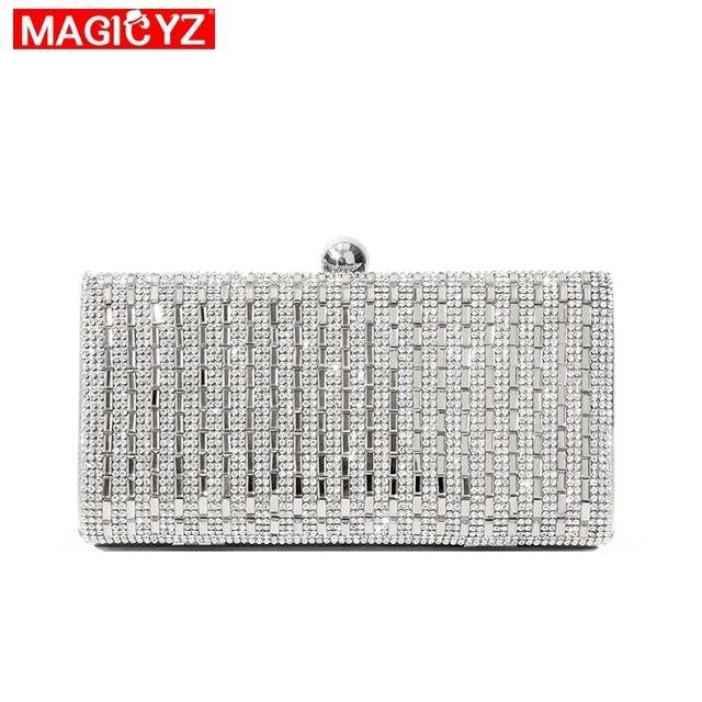 8ba613c097 MAGICYZ Women Evening Bag Black/Silver Wedding Party Bags Diamond ...