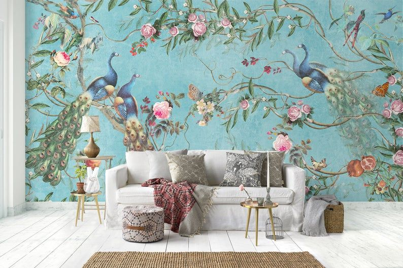Floral Wallpaper Self Adhesive Peel And Stick Peacock Wall Etsy In 2021 Peacock Wallpaper Wallpaper Decor Chinoiserie Wallpaper