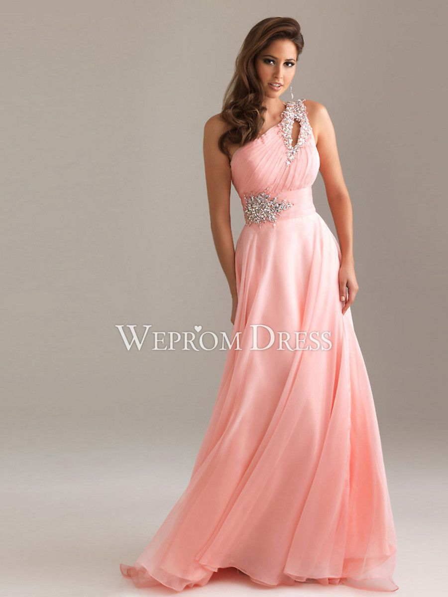 Plain Pear-Shaped Hourglass Zipper Sequin Sleeveless One-shoulder Pearl Pink Wedding Guest Dresses -wepromdresses.com