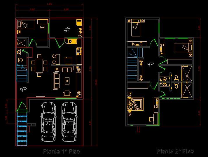 Planos de casas en autocad dwg casa 1 en 2019 casas for Casa minimalista planos dwg