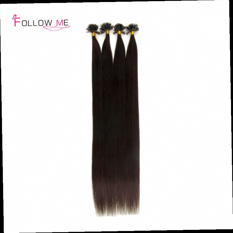 51.31$  Buy now - http://alitzq.worldwells.pw/go.php?t=32490621009 - 18 20 22 24 Inches indian virgin hair 0.5g/s #2 Dark Brown U Tip Hair Extensions Human Hair 100pcs 200pcs
