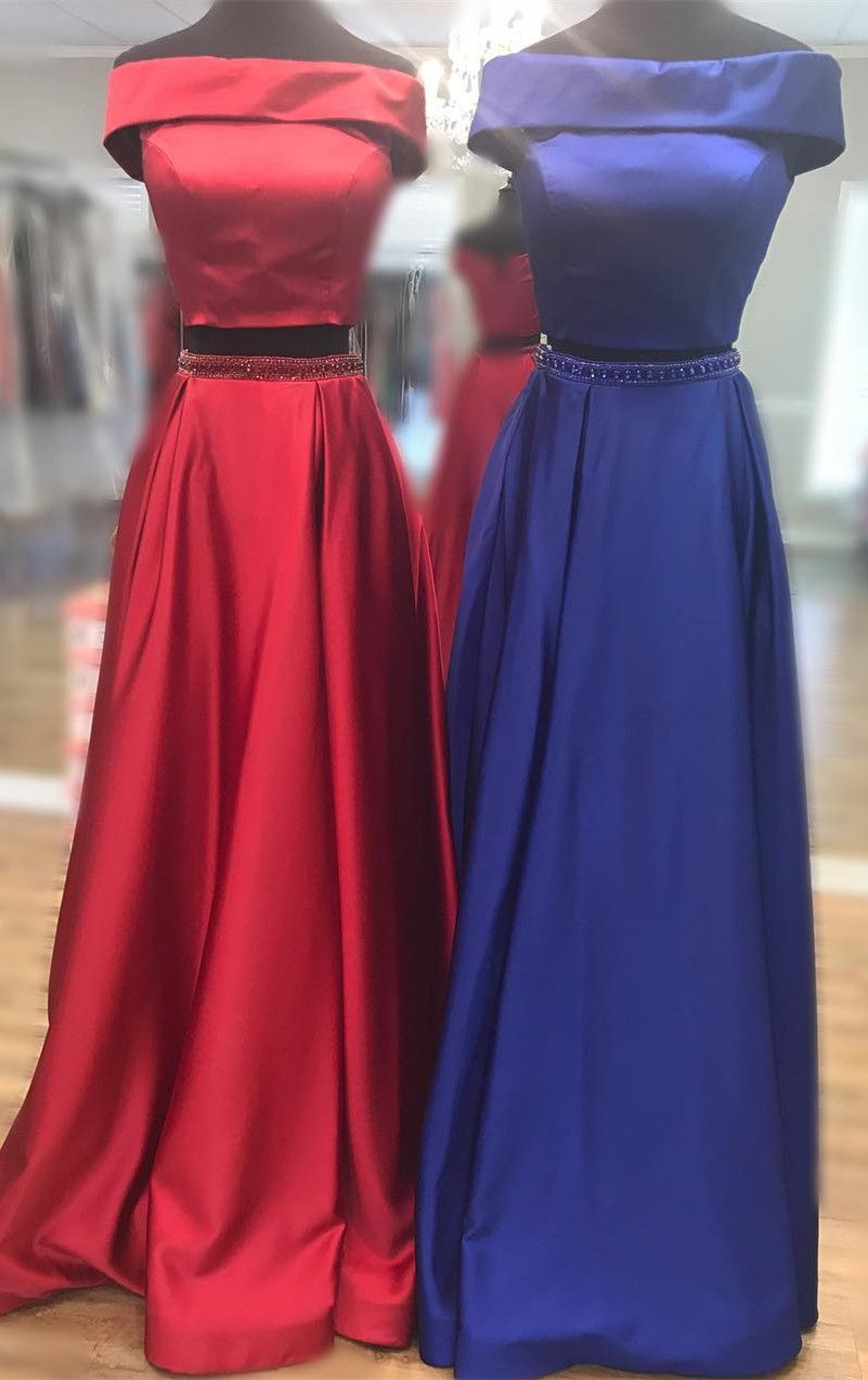 two piece long prom dress, 2018 prom dress, red two piece long prom dress, royal blue off the shoulder long prom dress