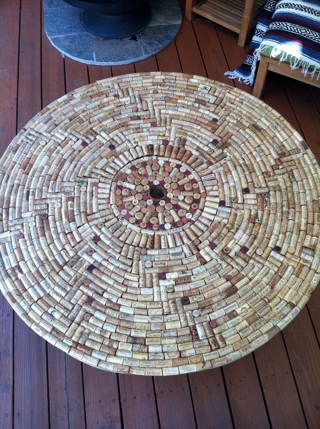 Wine Cork table top. Don\'t know how this is done yet, but I am going ...