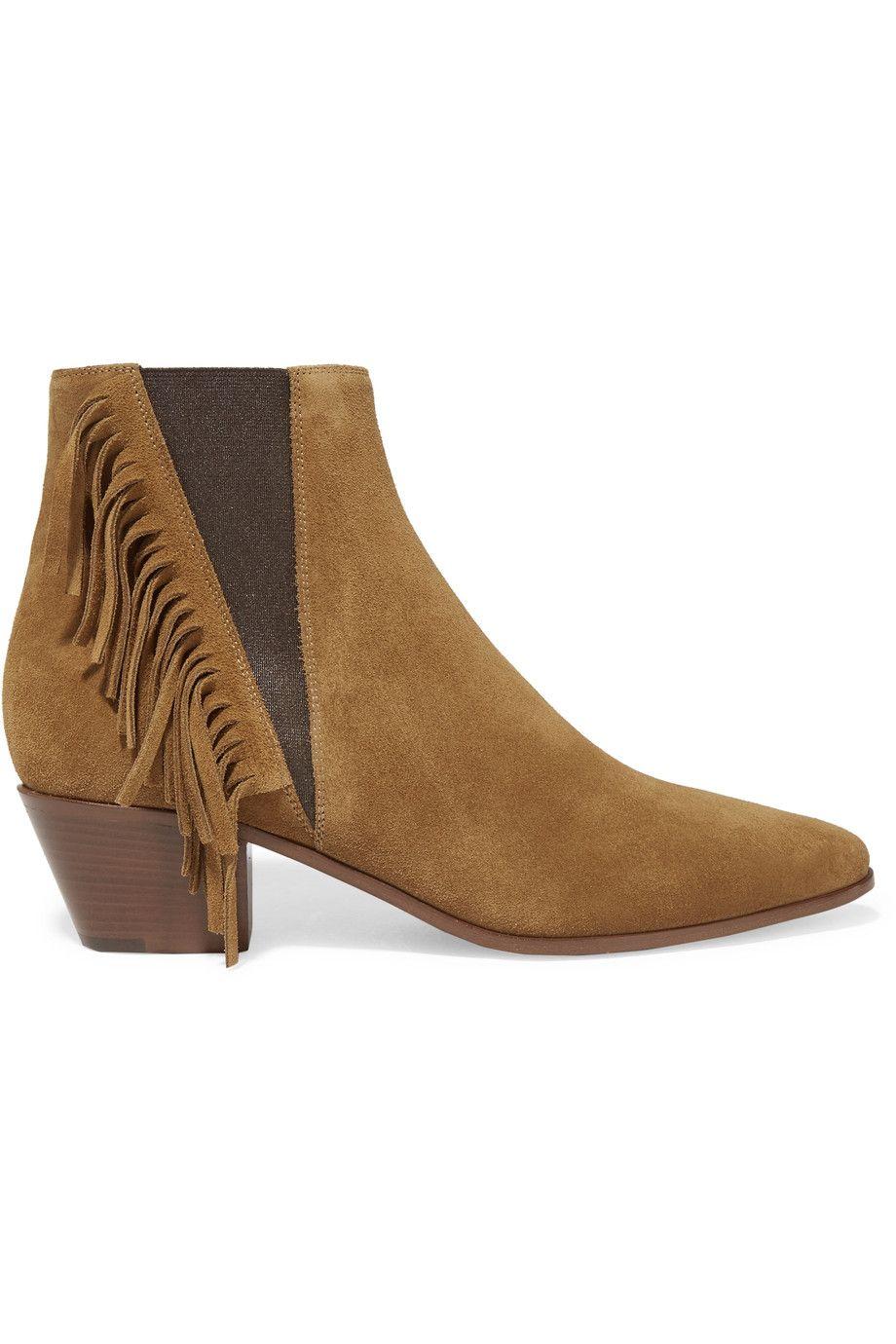 73e80703aa5 SAINT LAURENT Fringed Suede Ankle Boots. #saintlaurent #shoes #boots ...