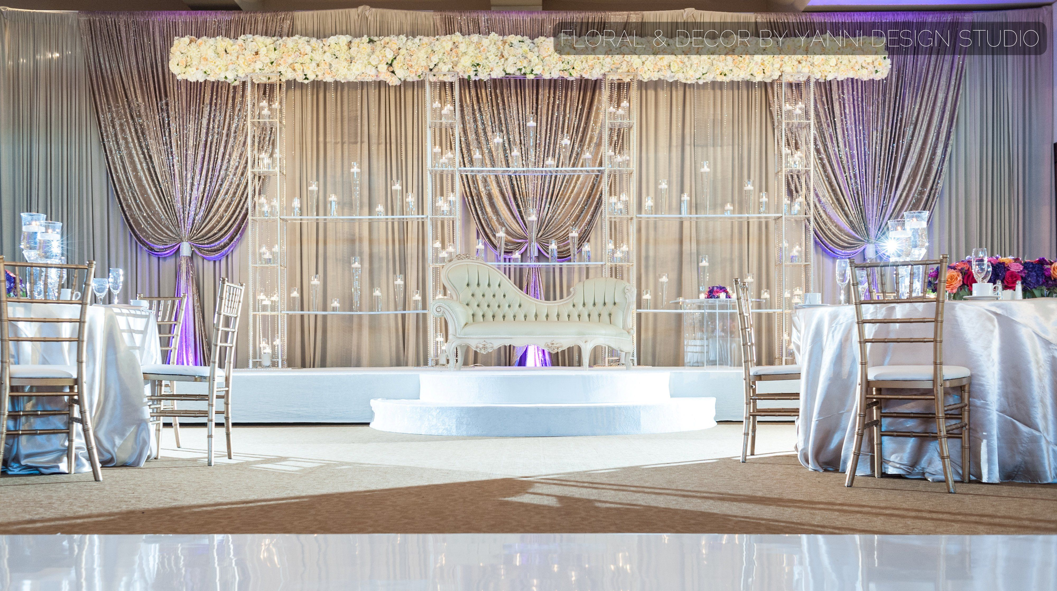 Wedding flowers and decorations wedding stage or hall decor modern indian wedding stage design includes contemporary metal structure lush drapery and a royal sofa junglespirit Images